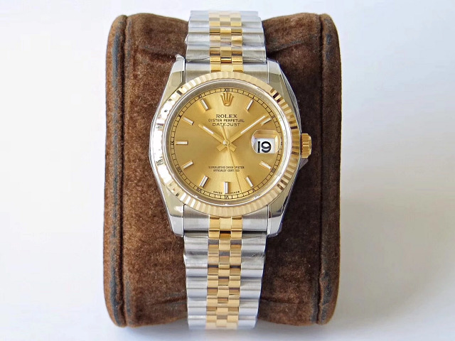 Replica Rolex 36mm Datejust Two Tone Yellow Gold Watch